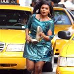 Mindy Kaling shoots scenes for her new show in LA 110616
