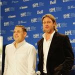 TIFF Photos: Jonah Hill and Brad Pitt at Moneyball press conference. Photos from Jason Merritt/Gettyimages.com   93759