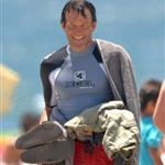 Stephen Moyer takes son to the beach 44195