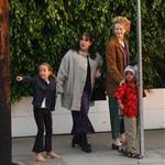 Nicole Kidman and her children Isabella and Connor Cruise go for dinner with friends, September 2001 114108