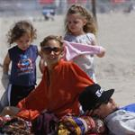 Nicole Richie  with Joel Madden and kids at the beach in Santa Monica  110935