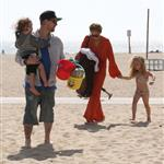 Nicole Richie  with Joel Madden and kids at the beach in Santa Monica  110952