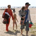 Nicole Richie  with Joel Madden and kids at the beach in Santa Monica  110954