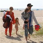 Nicole Richie  with Joel Madden and kids at the beach in Santa Monica  110955