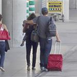Penelope Cruz and Javier Bardem with their son Leo at the Madrid Airport 117475