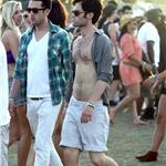 Penn Badgley shirtless at Coachella 83435