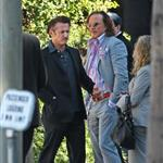 Sean Penn and Mickey Rourke smoke break together on Oscar Nominee luncheon day 31926