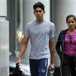 Freida Pinto and Dev Patel in Montreal leaving the gym 63465