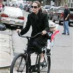 Brad Pitt Angelina Jolie take Shiloh Maddox Zahara Pax bike riding in New Orleans  15831