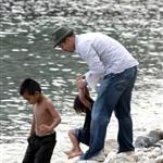 Brad Pitt Angelina Jolie hang out at the beach with The Edge 20150