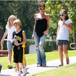 Victoria Beckham flipflops ponytail bulldog at basketball with her kids  67116