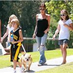 Victoria Beckham flipflops ponytail bulldog at basketball with her kids  67117
