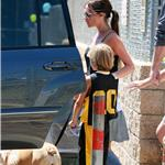 Victoria Beckham flipflops ponytail bulldog at basketball with her kids  67123