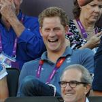 Prince Harry watches Beach Volleyball with Jason Kenny, Laura Trott and Constantine Louloudis on Day 12 of the London 2012 Olympic Games 122810