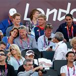 Prince Harry watches Beach Volleyball with Jason Kenny, Laura Trott and Constantine Louloudis on Day 12 of the London 2012 Olympic Games 122812