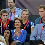 Prince Harry watches Beach Volleyball with Jason Kenny, Laura Trott and Constantine Louloudis on Day 12 of the London 2012 Olympic Games 122813