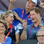 Prince Harry watches Beach Volleyball with Jason Kenny, Laura Trott and Constantine Louloudis on Day 12 of the London 2012 Olympic Games 122816