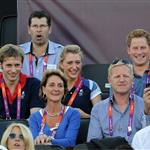 Prince Harry watches Beach Volleyball with Jason Kenny, Laura Trott and Constantine Louloudis on Day 12 of the London 2012 Olympic Games 122817