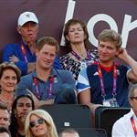 Prince Harry watches Beach Volleyball with Jason Kenny, Laura Trott and Constantine Louloudis on Day 12 of the London 2012 Olympic Games 122819