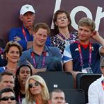 Prince Harry watches Beach Volleyball with Jason Kenny, Laura Trott and Constantine Louloudis on Day 12 of the London 2012 Olympic Games 122820