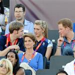 Prince Harry watches Beach Volleyball with Jason Kenny, Laura Trott and Constantine Louloudis on Day 12 of the London 2012 Olympic Games 122821