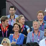 Prince Harry watches Beach Volleyball with Jason Kenny, Laura Trott and Constantine Louloudis on Day 12 of the London 2012 Olympic Games 122823