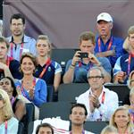Prince Harry watches Beach Volleyball with Jason Kenny, Laura Trott and Constantine Louloudis on Day 12 of the London 2012 Olympic Games 122831