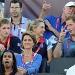 Prince Harry watches Beach Volleyball with Jason Kenny, Laura Trott and Constantine Louloudis on Day 12 of the London 2012 Olympic Games 122833
