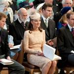 Prince Harry, Catherine, Duchess of Cambridge and Prince William during a service of thanksgiving to mark the Queen's Diamond Jubilee at St Paul's cathedral on June 5 116473