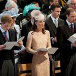 Prince Harry, Catherine, Duchess of Cambridge and Prince William during a service of thanksgiving to mark the Queen's Diamond Jubilee at St Paul's cathedral on June 5 116474