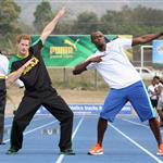 Prince Harry with Usain Bolt at the Usain Bolt Track at the University of the West Indies in Kingston, Jamaica 108156