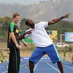 Prince Harry with Usain Bolt at the Usain Bolt Track at the University of the West Indies in Kingston, Jamaica 108157