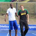 Prince Harry with Usain Bolt at the Usain Bolt Track at the University of the West Indies in Kingston, Jamaica 108159