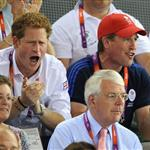 Prince Harry and Peter Phillips on Day 11 of the London 2012 Olympic Games at the Velodrome  122672