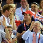 Prince Harry and Peter Phillips on Day 11 of the London 2012 Olympic Games at the Velodrome  122673