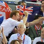 Prince Harry and Peter Phillips on Day 11 of the London 2012 Olympic Games at the Velodrome  122677