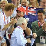 Prince Harry and Peter Phillips on Day 11 of the London 2012 Olympic Games at the Velodrome  122678