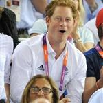 Prince Harry and Peter Phillips on Day 11 of the London 2012 Olympic Games at the Velodrome  122687