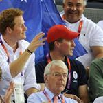 Prince Harry and Peter Phillips on Day 11 of the London 2012 Olympic Games at the Velodrome  122689