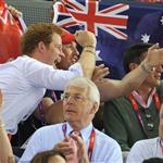 Prince Harry and Peter Phillips on Day 11 of the London 2012 Olympic Games at the Velodrome  122698