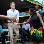 Prince Harry wearing a pair of blue suede shoes shows off his dance moves as he visits the Rise Life Youth Project in Kingston, Jamaica and meets Rita Marley widow of Reggae legend Bob Marley 108266