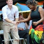 Prince Harry wearing a pair of blue suede shoes shows off his dance moves as he visits the Rise Life Youth Project in Kingston, Jamaica and meets Rita Marley widow of Reggae legend Bob Marley 108270