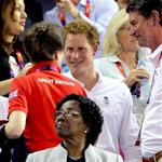 Prince Harry is greeted by Princess Anne at the Velodrome during the 2012 London Summer Olympics 122723