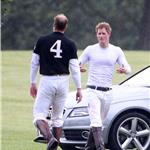 Prince Harry in a tight white shirt at polo with brother Prince William  87295