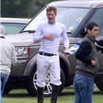 Prince Harry in a tight white shirt at polo with brother Prince William  87297