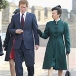 Prince Harry and Princess Anne arrive for a thanksgiving service for the Queen Mother and Princess Margaret at St George's Chapel 110233