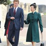 Prince Harry and Princess Anne arrive for a thanksgiving service for the Queen Mother and Princess Margaret at St George's Chapel 110234