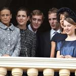 Stephanie of Monaco, Charlotte Casiraghi, Pierre Casiraghi, Andrea Casiraghi, Caroline of Hanover and Alexandra of Hanover appear on the balcony of the Monaco Palace during the celebrations marking Monaco's National Day 98873