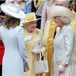 Carole Middleton without gloves outside The Abbey with the Queen and Camilla after the Royal Wedding 84874
