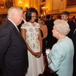 First Lady Michelle Obama and US Ambassador Louis Susman meet Queen Elizabeth during a reception at Buckingham Palace for Heads of State and Government attending the Olympics Opening Ceremony 121842